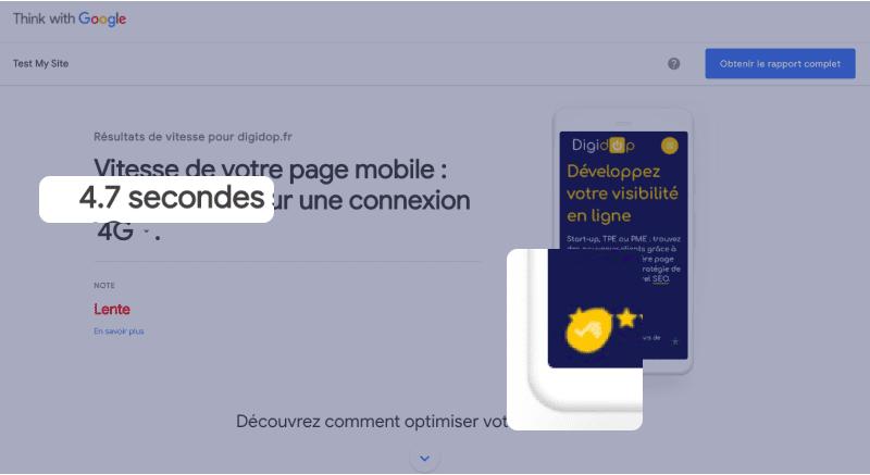 Capture d'écran de performance de site mobile avec Test My Site, think with Google affichant un rapport de délai de 4,7 secondes