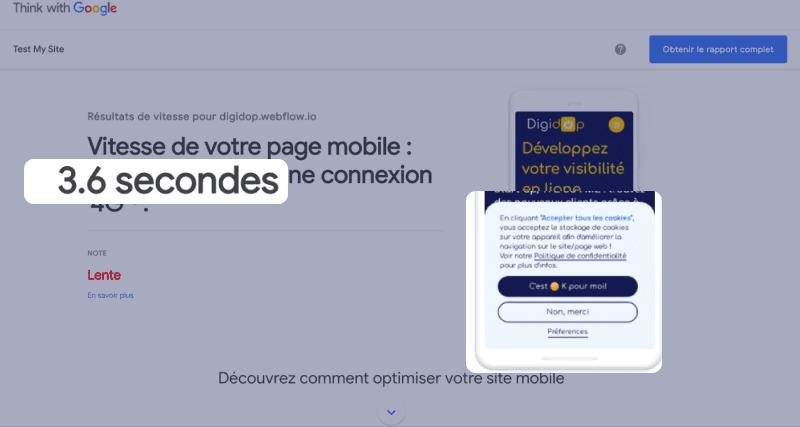 Capture d'écran de performance de site en version mobile avec Test My Site, think with Google affichant un rapport de délai de 3,6 secondes