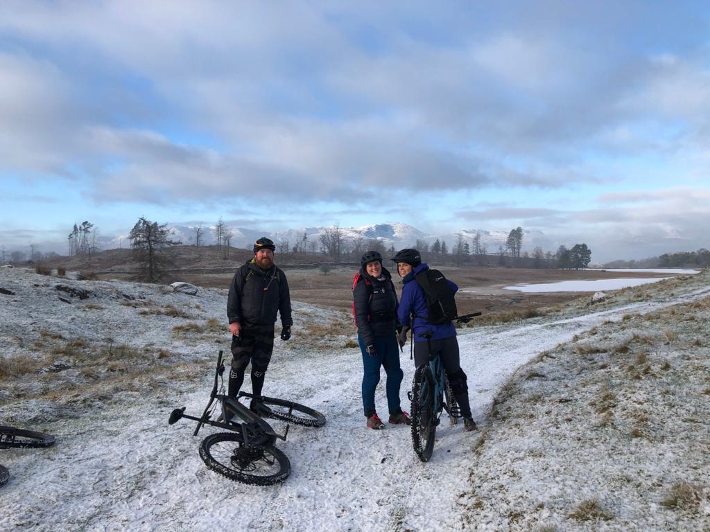 Rockstop team on a snowy bike trail