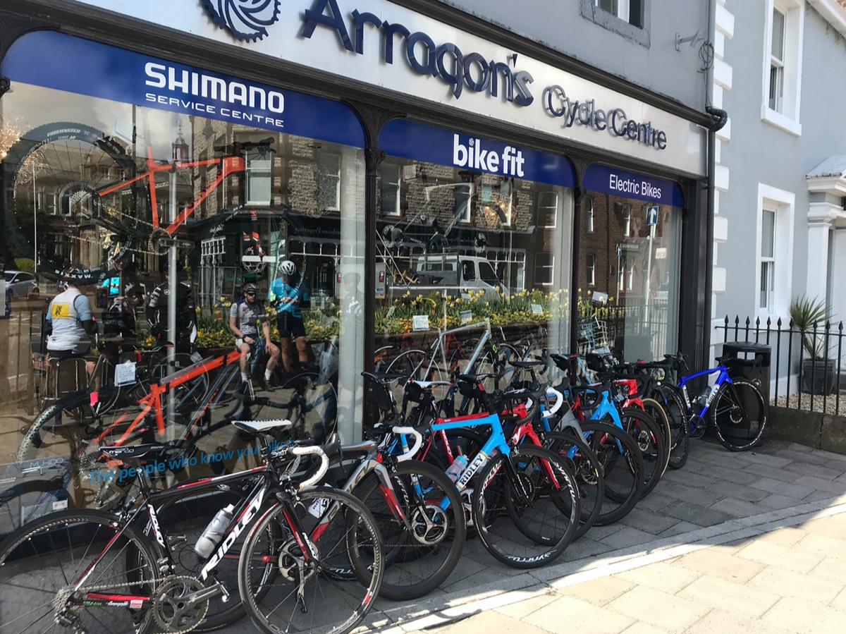 Side facing shot of the front of Arragons shop in Penrith