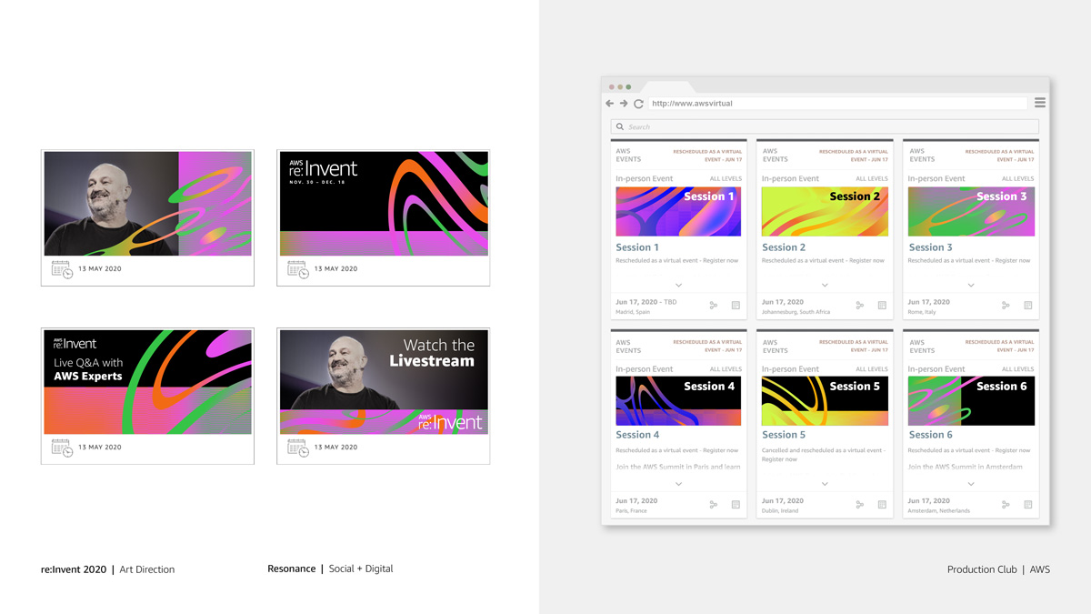 AWS re:Invent conference web layout