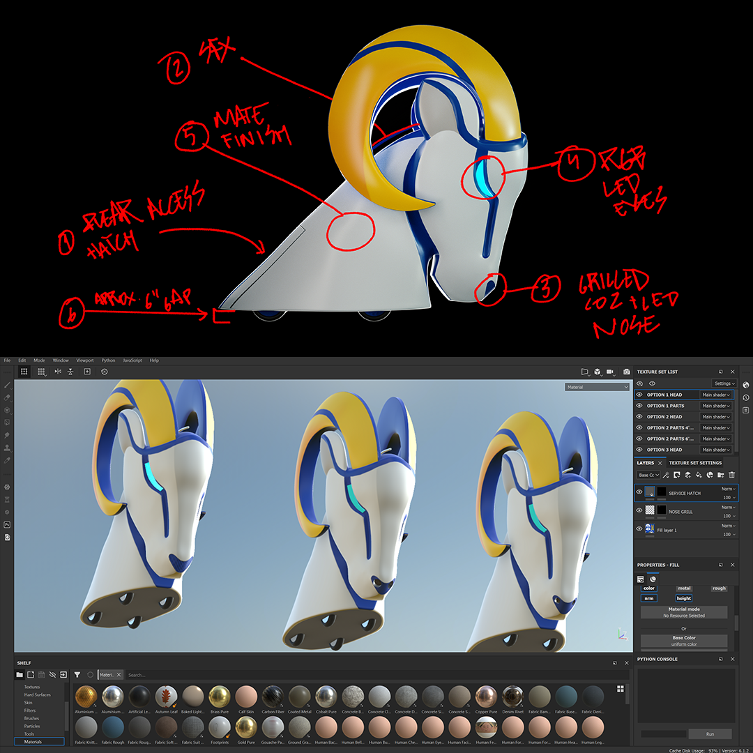 LA Rams head concept design