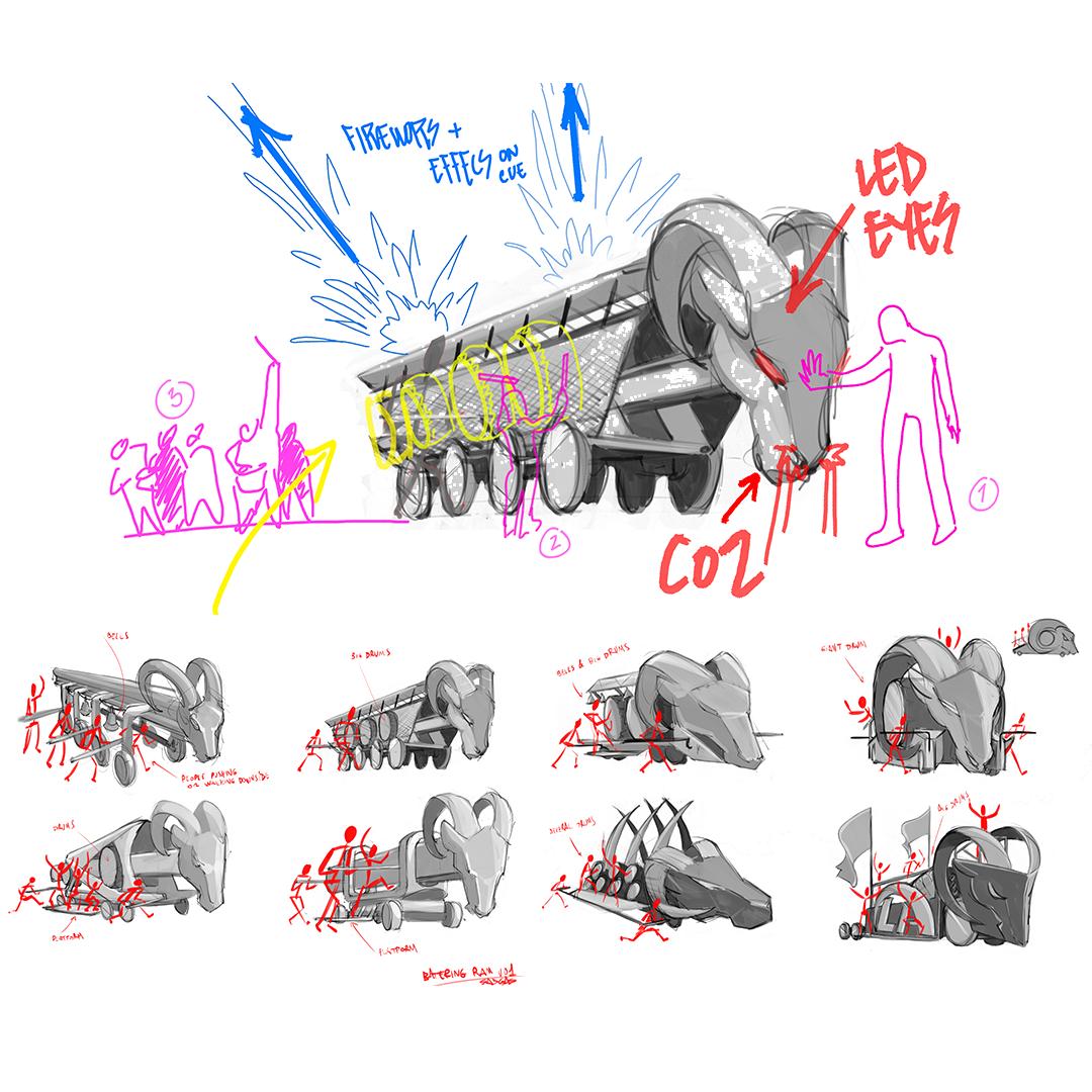 LA Rams player entrance concept sketch