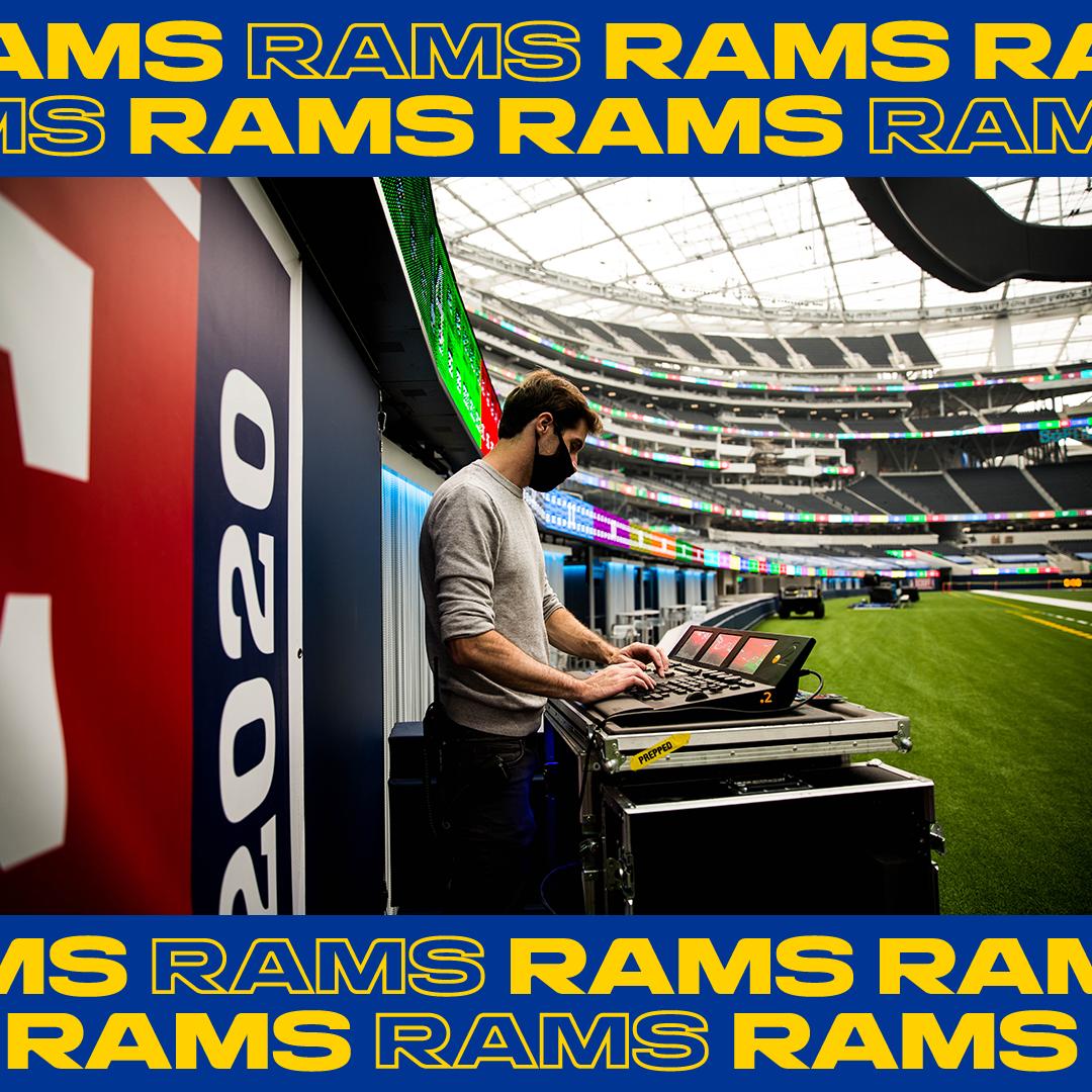 LA Rams player entrance production logo