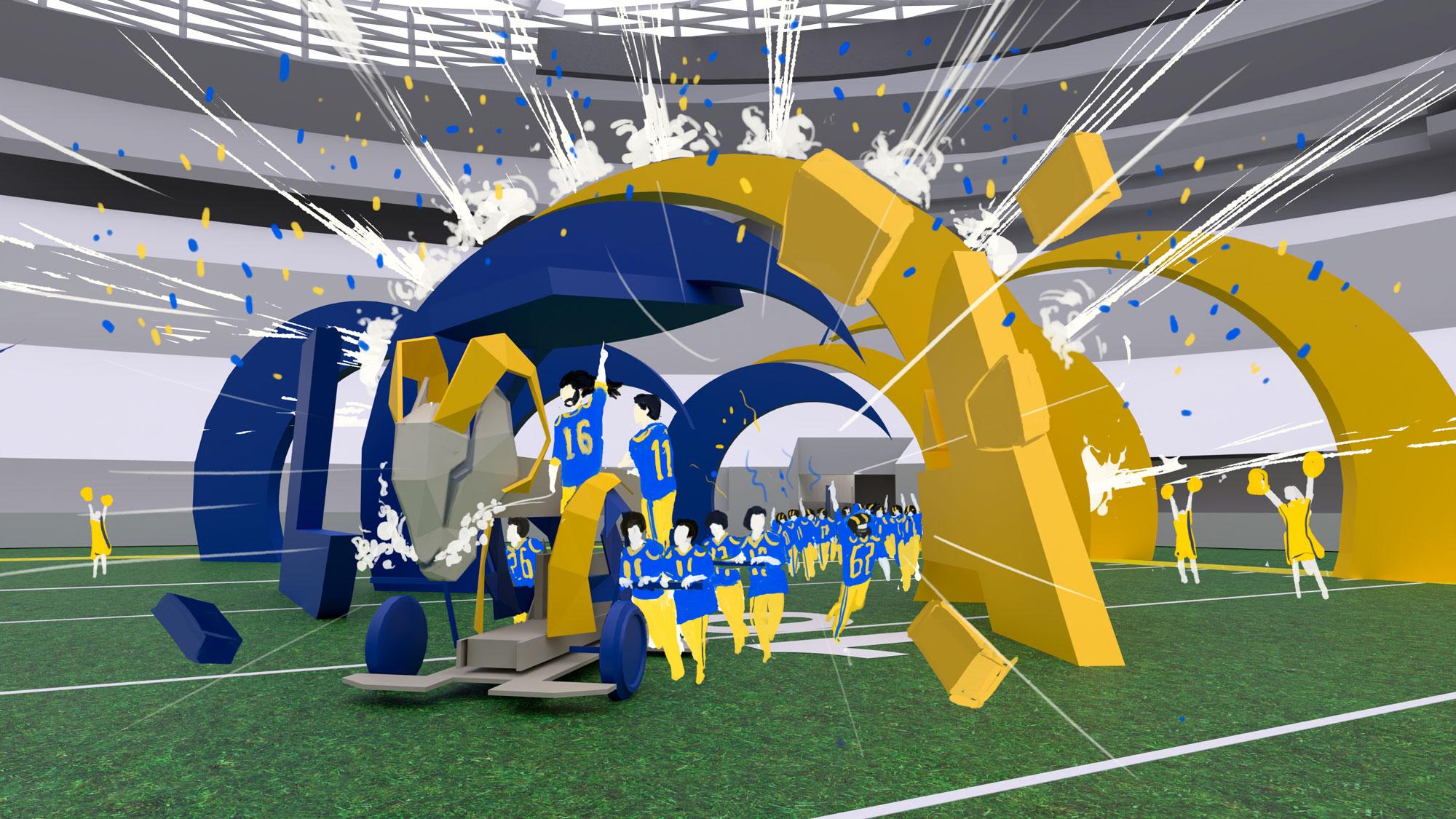 LA Rams player entrance 3d render