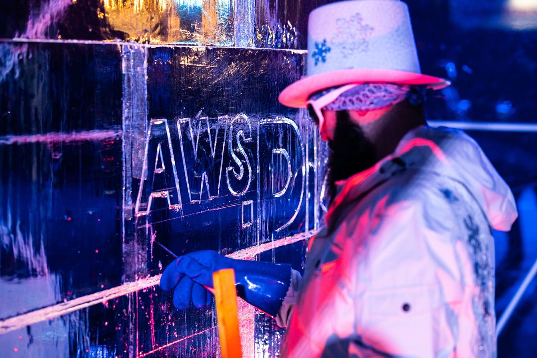 AWS re:Play Las Vegas Ice Sculpture