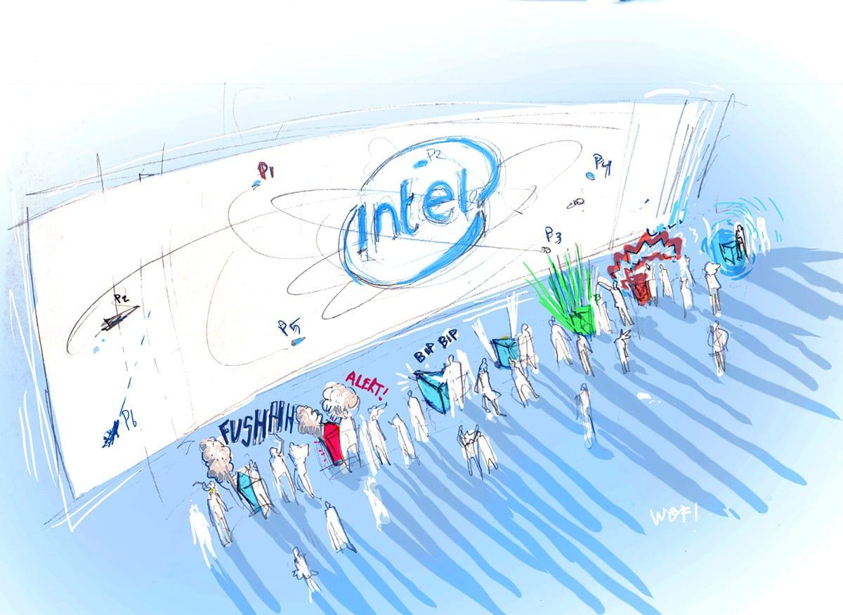 Intel Super Space Melee concept sketch