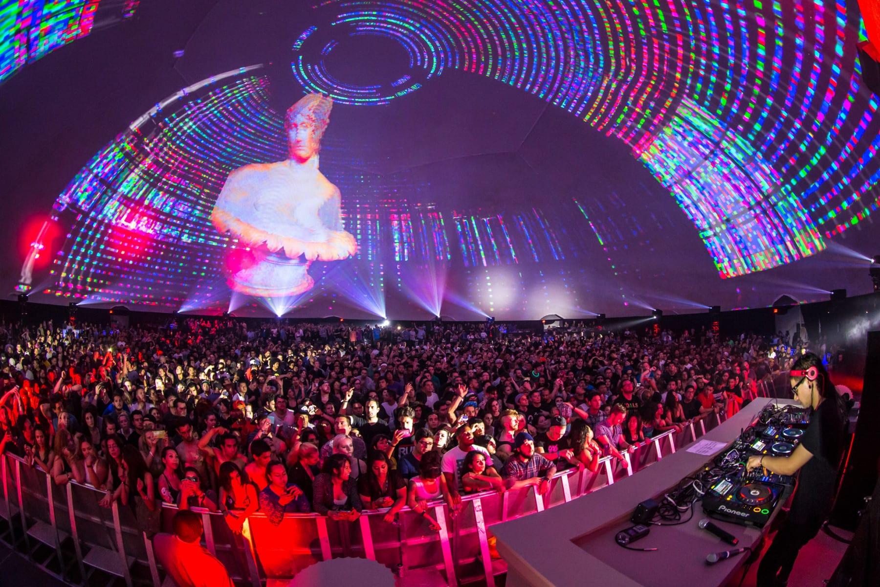 .party() LA stage dome graphics