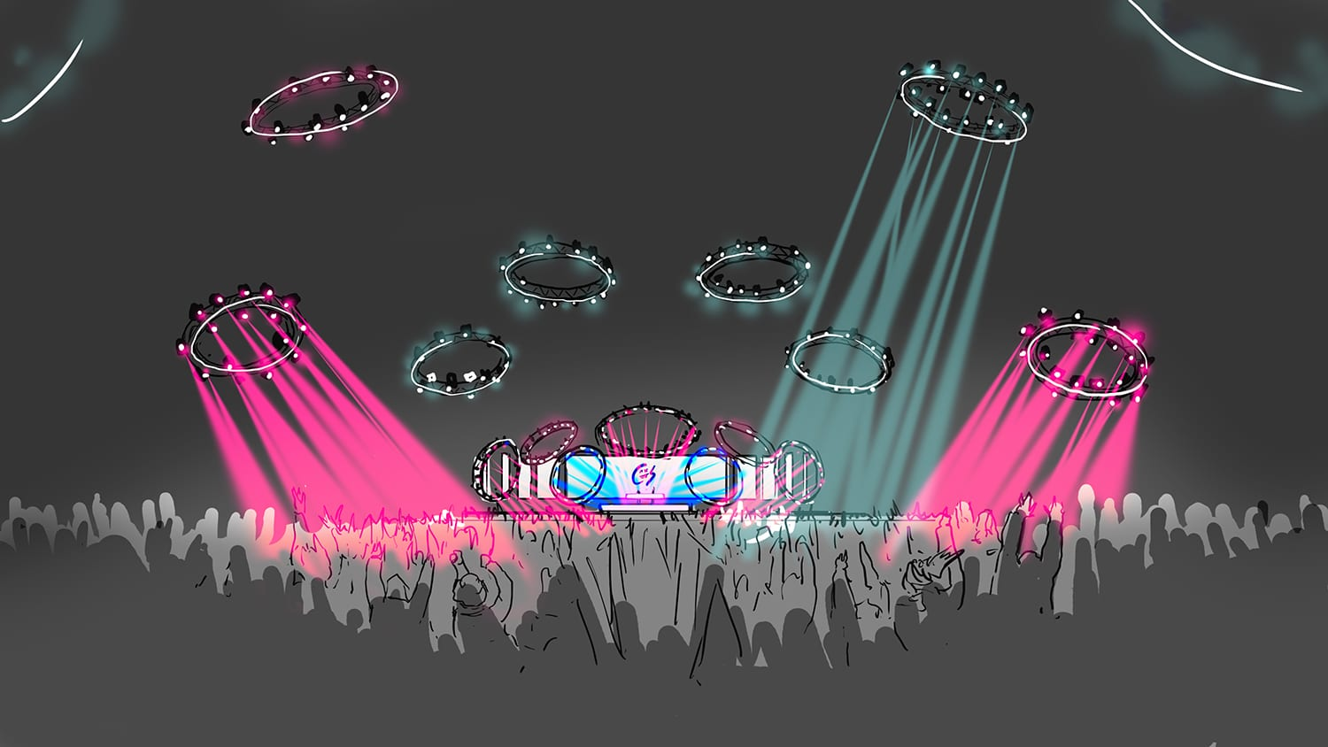 The Chainsmokers NYE ring lights