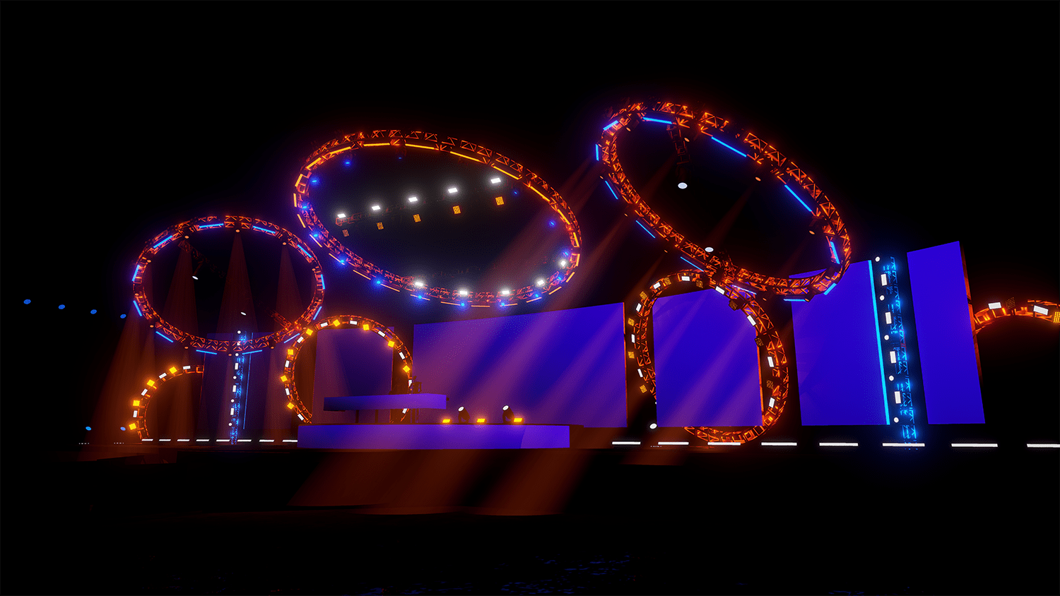 The Chainsmokers NYE ring lights stage
