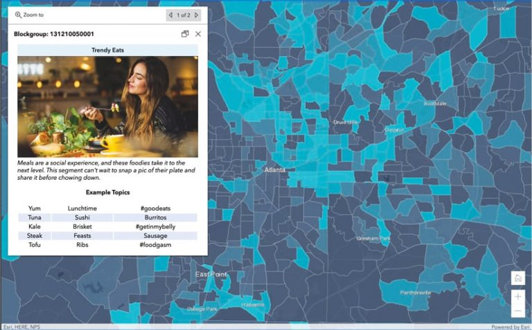 A blue-themed map of all the counties in and around Atlanta, Georgia, with a pop-up that shows a photo of a woman eating dinner together with information on the behavioral segment called Trendy Eats