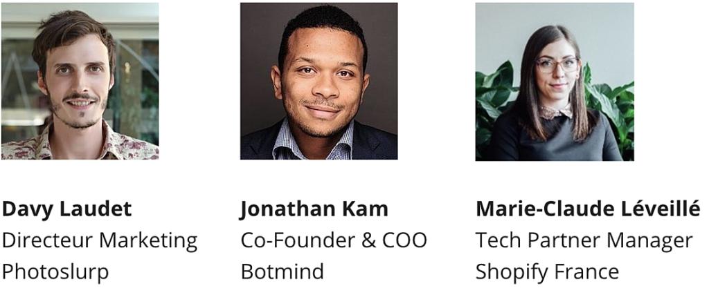 Jonathan Kamp botmind webinaire avec Shopify et photoslurp