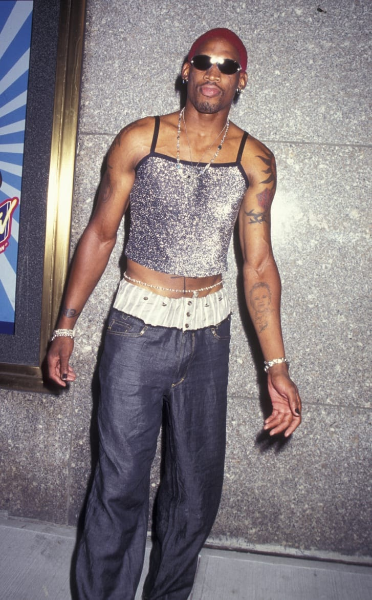 Dennis Rodman wore a sparkly top to the 12th Annual MTV Video Music Awards.
