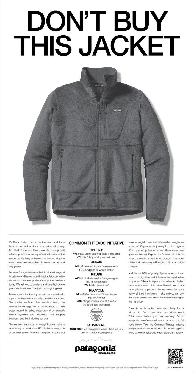 """Image of a Patagonia's """"don't buy this jacket"""" advertisement"""