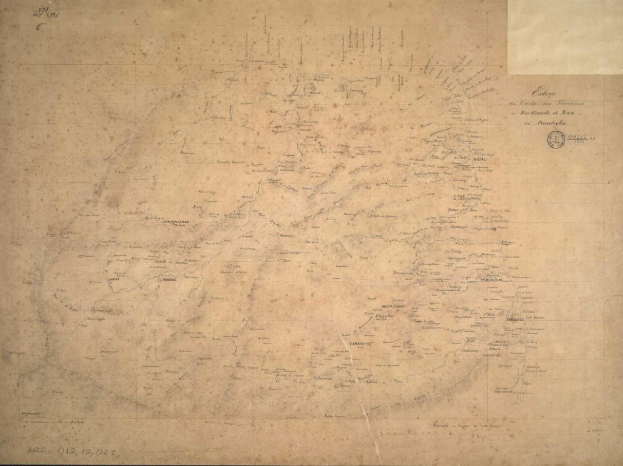 Esboço da Carta das Provincias do Rio Grande do Norte e da Parahyba.
