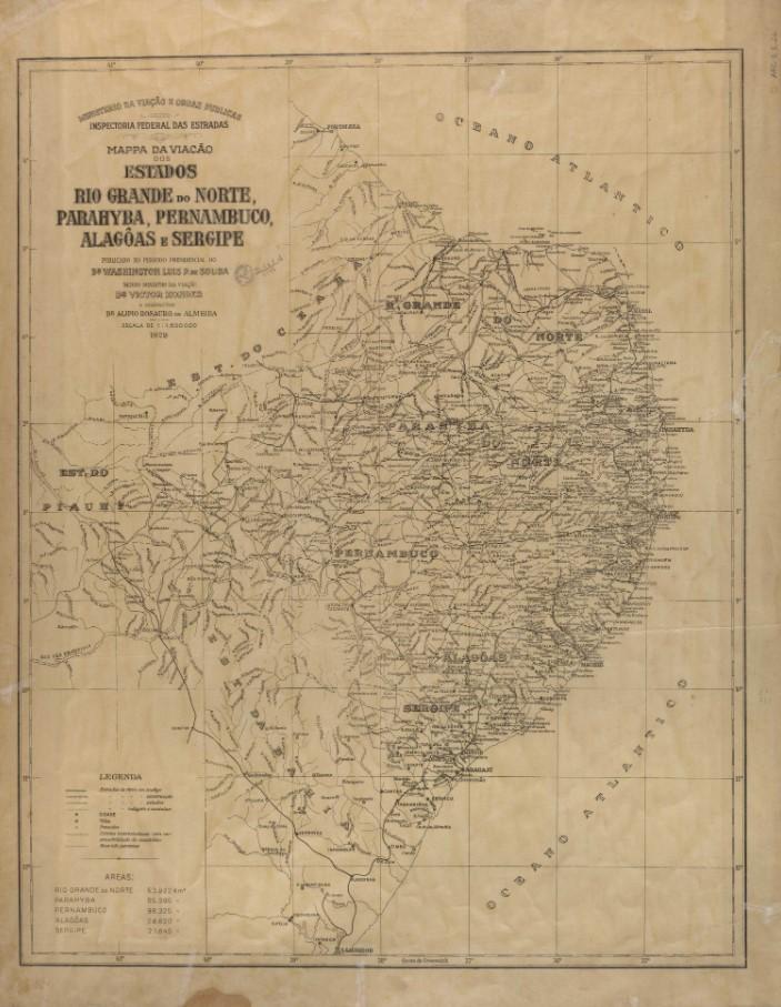 Mappa da viação dos estados do Rio Grande do Norte, Parahyba, Pernambuco, Alagoas e Sergipe