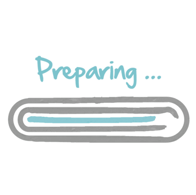 """A progress bar showing 90 %, with """"Preparing…"""" above it."""