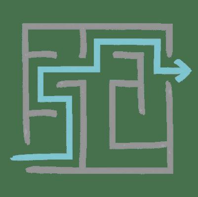 A maze with an arrow guiding through.