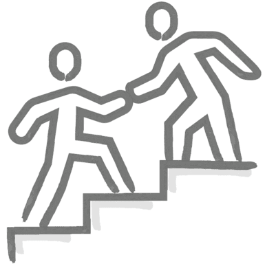 One person helping another to reach a higher step.