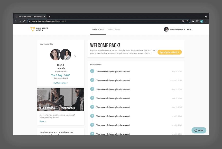 A screenshot of our user dashboard.