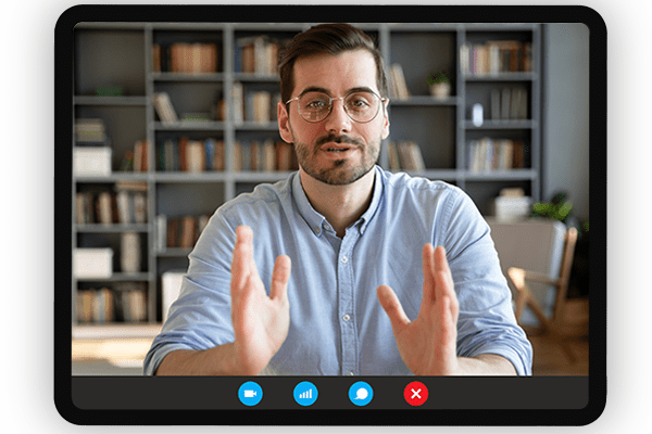A screen representing our live mentoring content, where users connect via video chat.