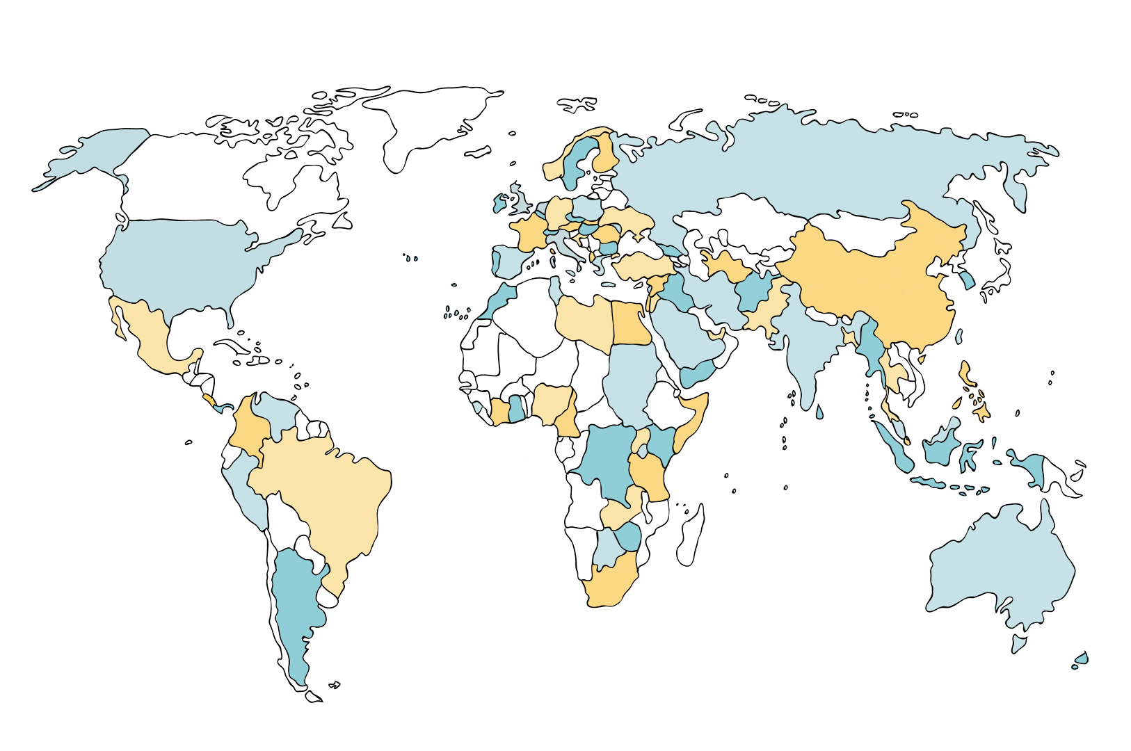 A world map displaying the countries in which the Volunteer Vision platform is actively used by mentors and mentees.