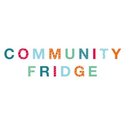 Community Fridge Logo.  The words community fridge, in green, red, blue and orange, with different patterns filling each letter.
