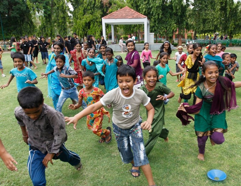 Students playing in park - St. Anne's Public School, Millersroad, Bangalore