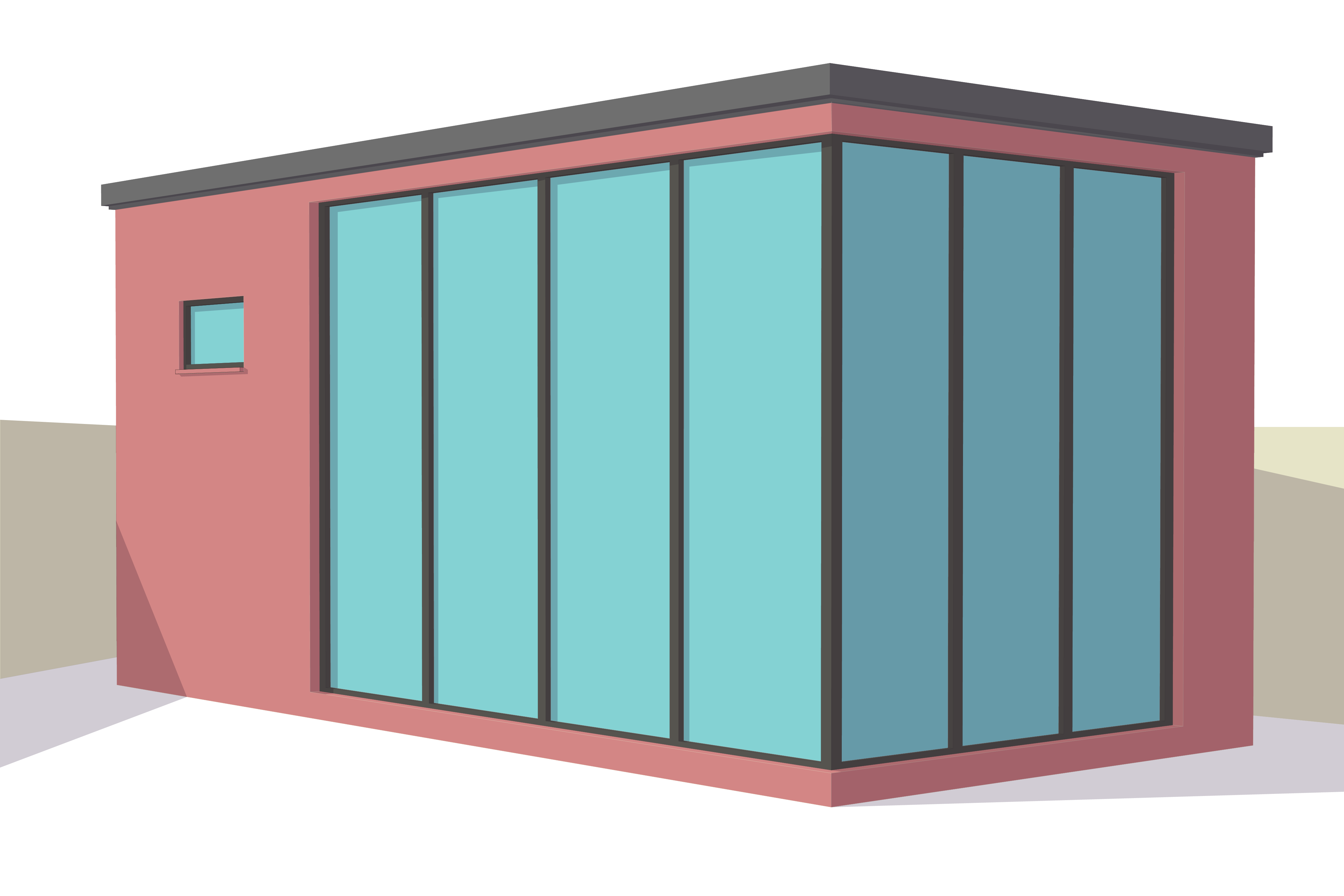 A modern garden room or granny annexe in residential garden