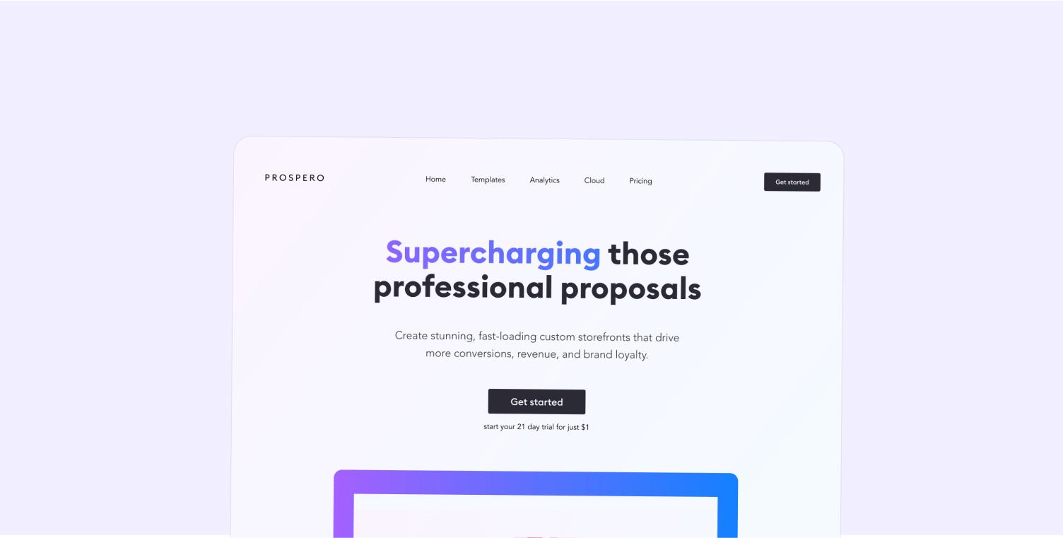 Prospero Website Hero Section
