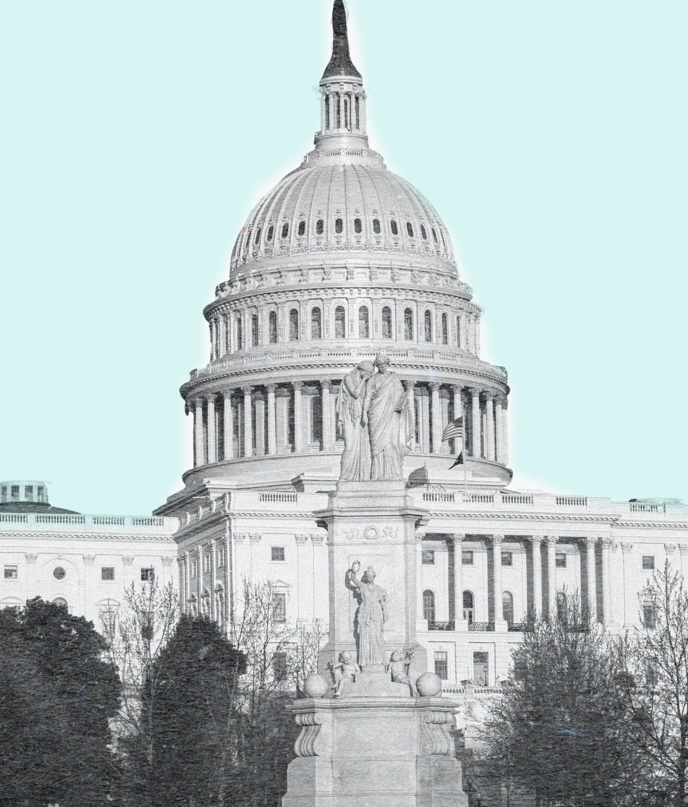Capitol building Washington DC photomontage with black and white building against blue sky