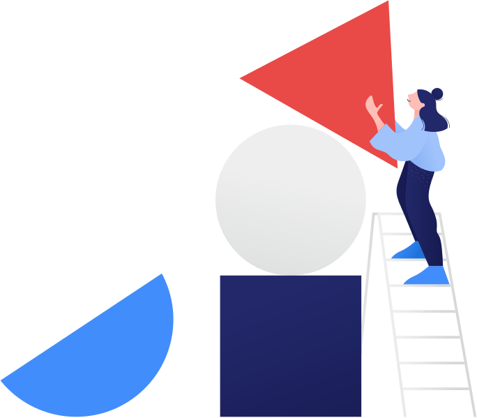 Illustration of a person on a ladder using large building blocks