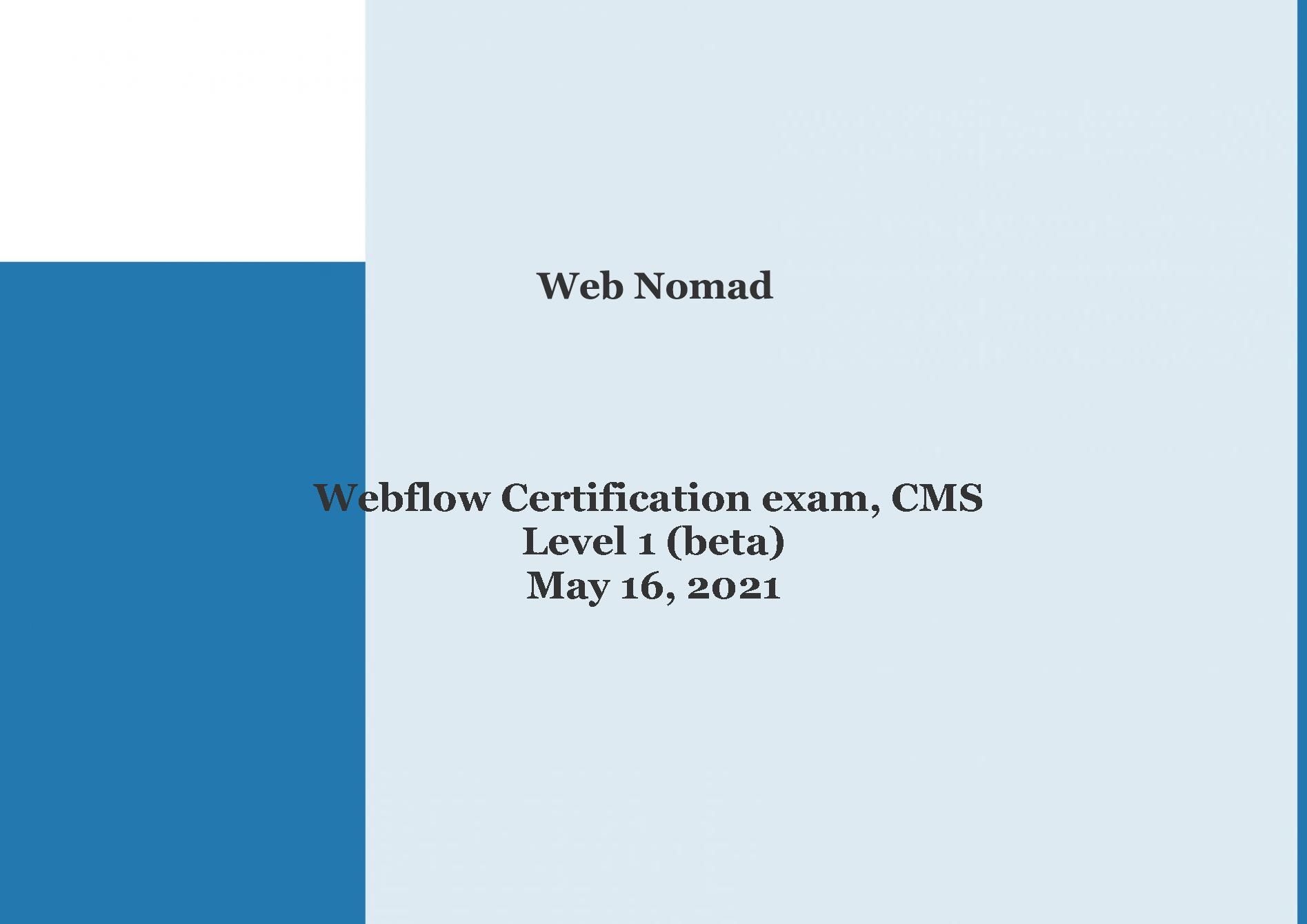 Web Nomad Certification 1