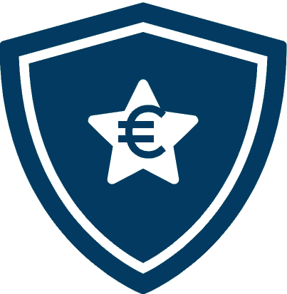 A shield with a euro symbol