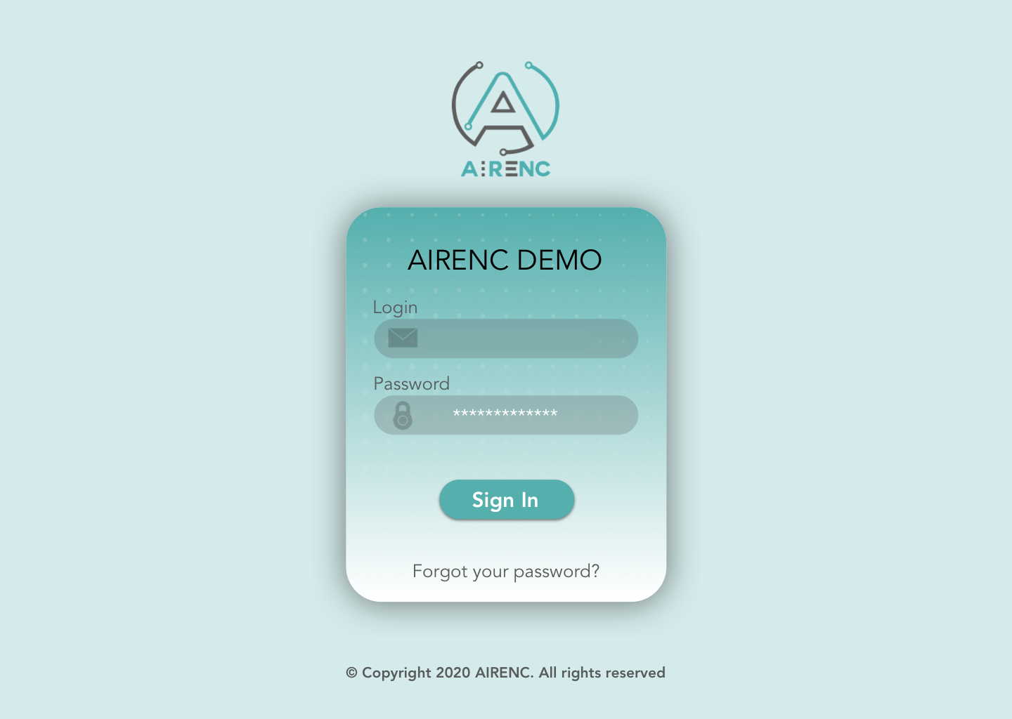 Log In screen of AIRENC platform