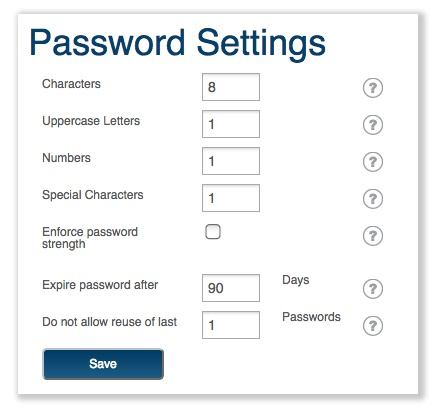password settings for healthcare devices and programs