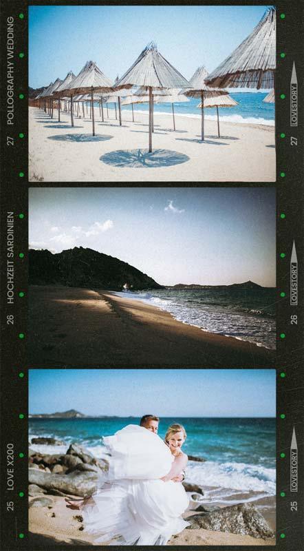 Hochzeitspaar feiert ausgelassen in Sardinien am Strand fotografiert vom Hochzeitsfotografen Team pollography wedding aus Freiburg