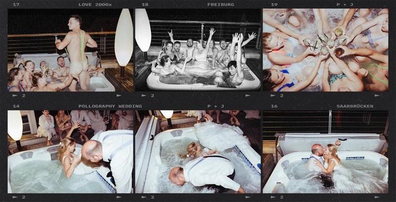 Hochzeitspaar feiert ausgelassen im Whirlpool fotografiert vom Hochzeitsfotografen Team pollography wedding aus Freiburg