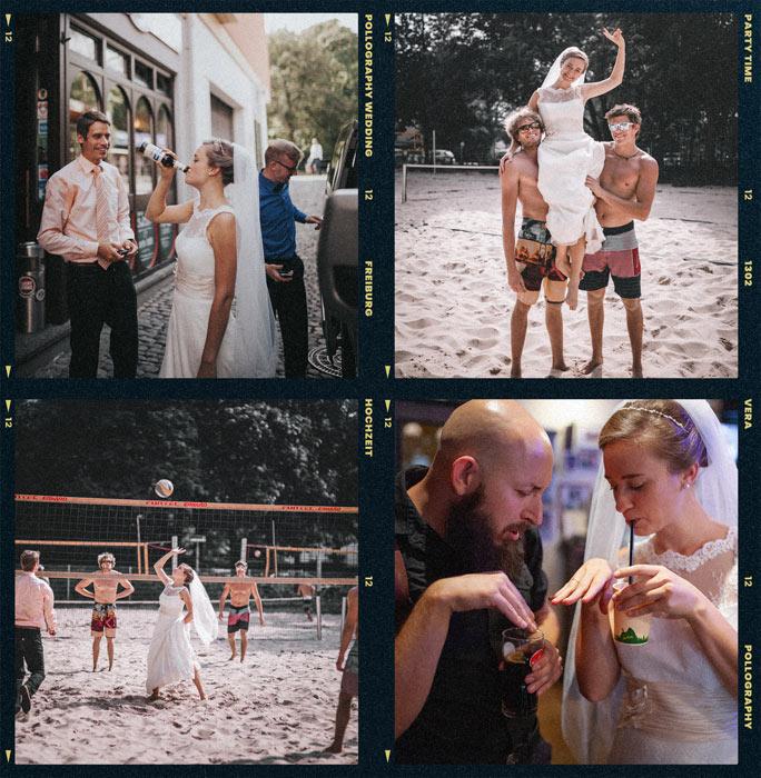 Hochzeitsbilder von feiernder Braut vorm Schlappen in Freiburg fotografiert vom Hochzeitsfotografen TEAM pollography wedding