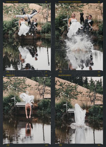 Hochzeitsfotografie Freiburg Braut und Trauzeuge springen ins Wasser