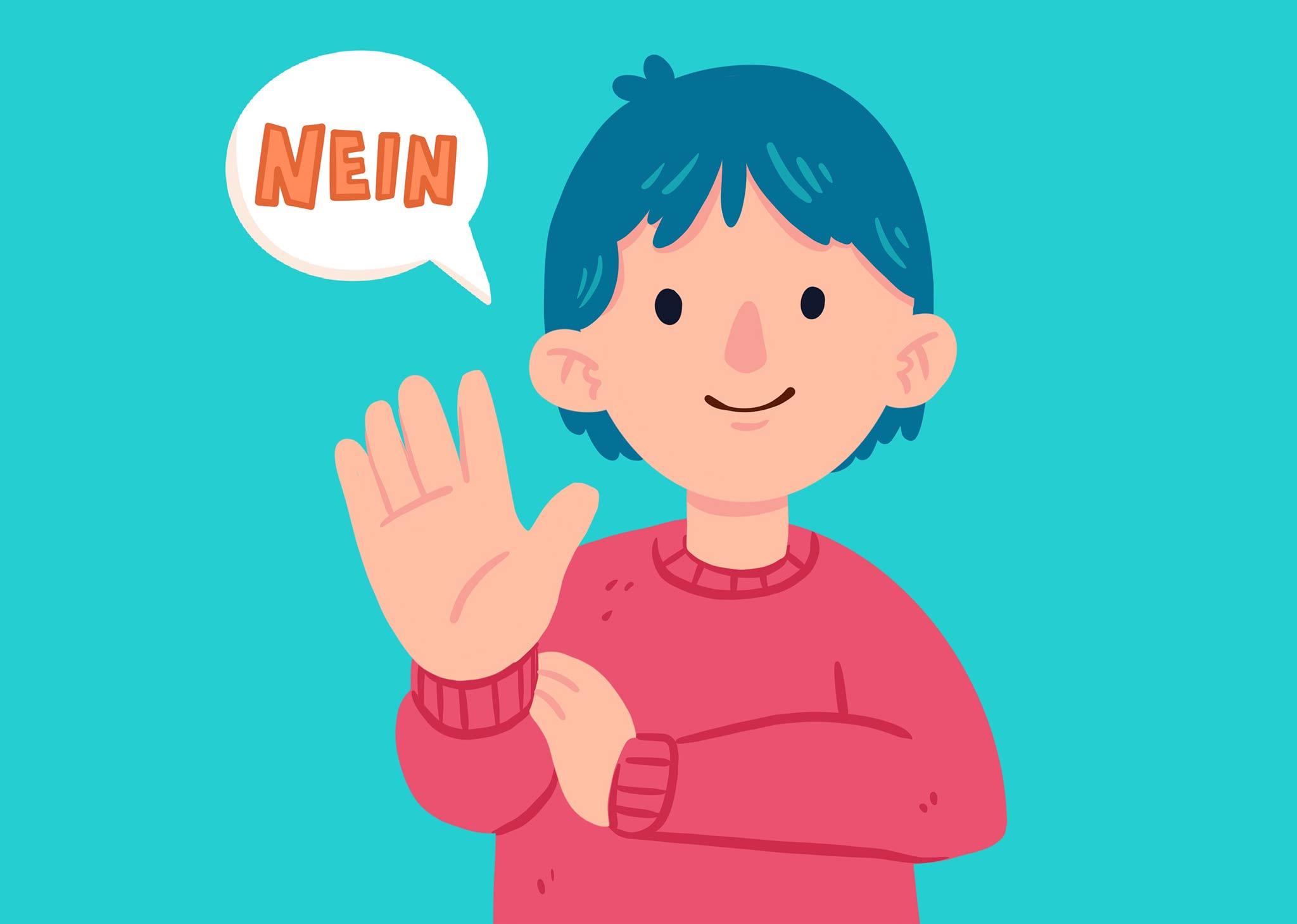 """Eine Person, die die Handfläche nach vorne streckt und mit leichtem Lächeln """"nein"""" sagt."""