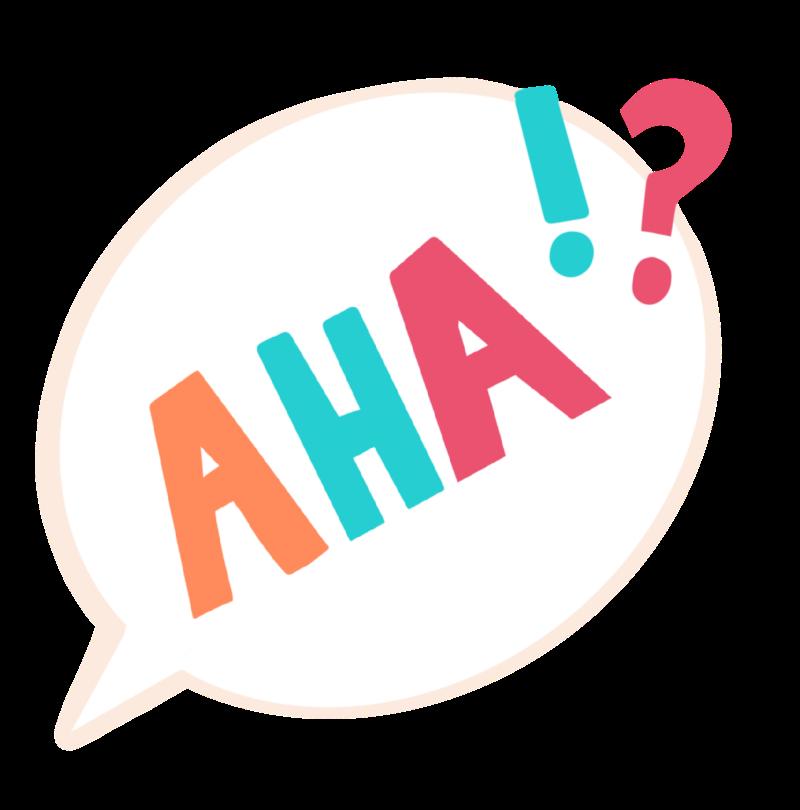 """Eine Sprechblase mit dem Ausruf """"Aha!?"""""""