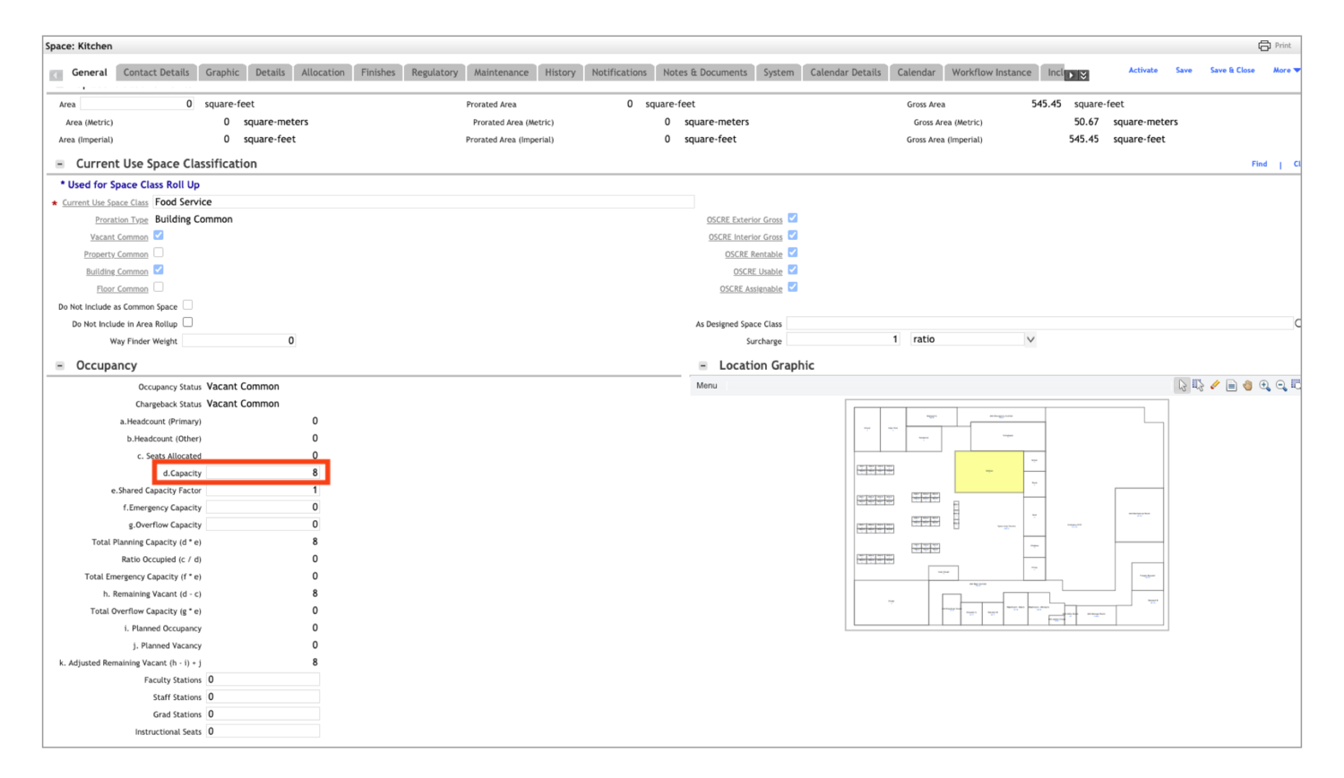 """IBM Tririga space module, managing spaces by adjusting capacity levels of the Kitchen under the """"Occupancy"""" section, with a location graphic of where the kitchen is located on the floor plan."""