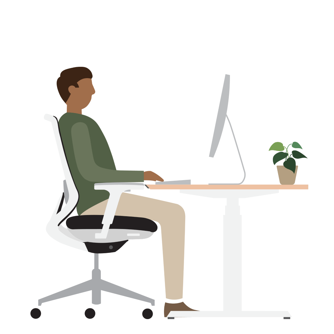 An illustration of a man sitting down at a desk