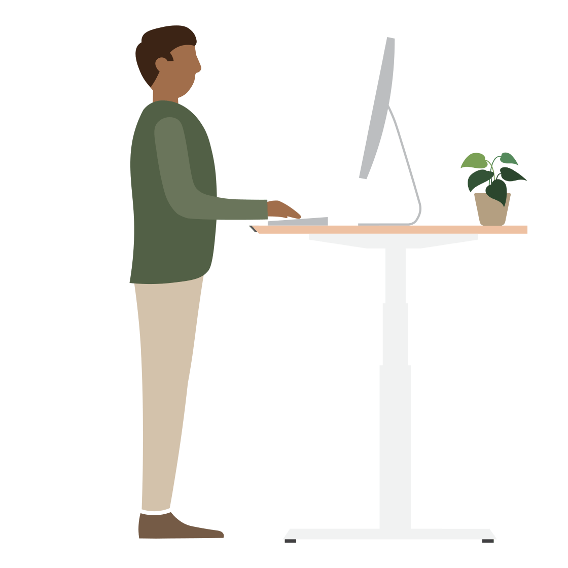 An illustration of a man standing at at a desk