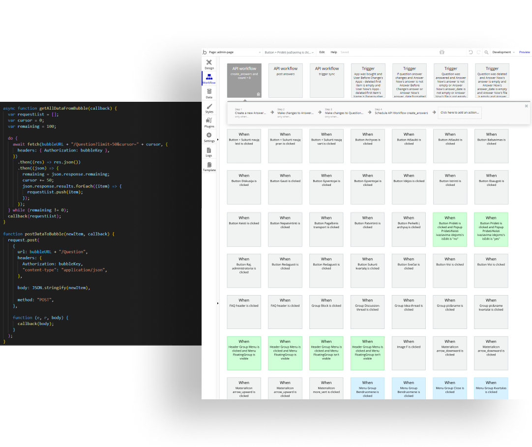 A visual comparison of how a series of programmed actions looks on traditional code and made in Bubble.