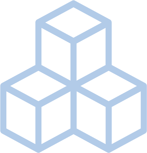 Building blocks stacked on top of eachother, which represent the drag-and-drop UI of the No Code tools we use.