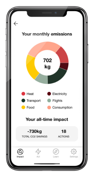 Your monthly emissions in the Carbon Donut app