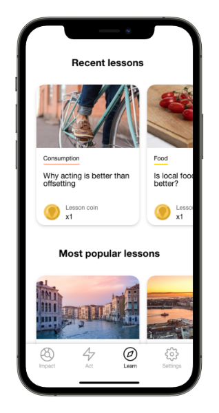 Lessons in the Carbon Donut app