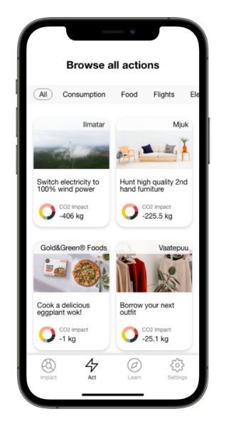 Solutions in the Carbon Donut app